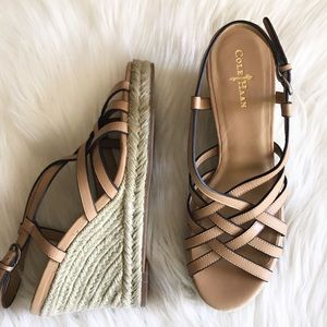 Cole Haan Beige Tan Strappy Sandal Wedges 7.5